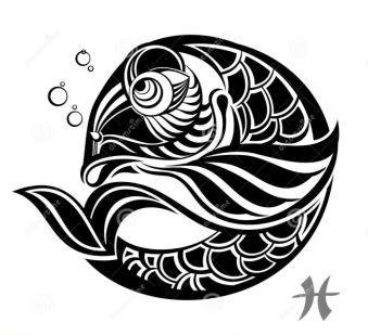 Fresh Zodiac Sign Pisces Tattoo Design