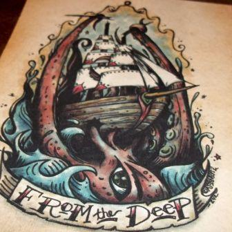 From The Deep Nautical Tattoo Flash