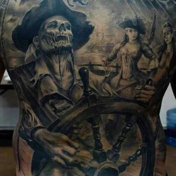 Full Back Pirates On Ship Tattoo