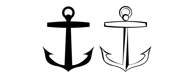 Full Black And White Anchor Tattoo Designs