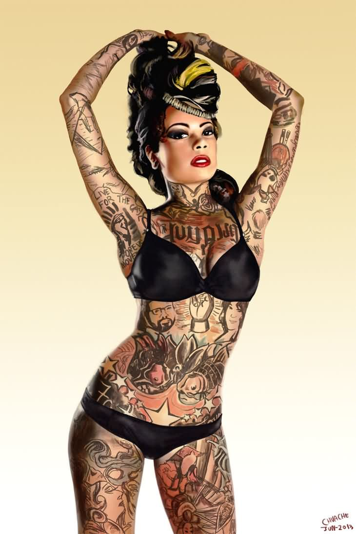 Full Body Tattooed Pin Up Girl