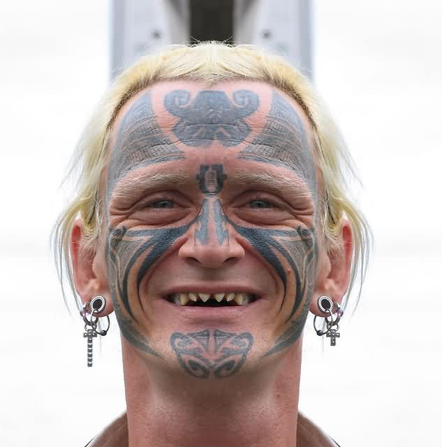 Full Face Tattoo On Old People