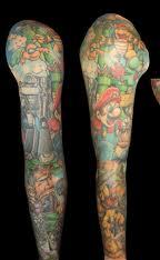 Full Sleeve Colorful Video Game Tattoos