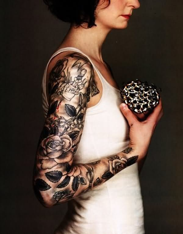 Full Sleeve Of Skull And Roses Tattoos