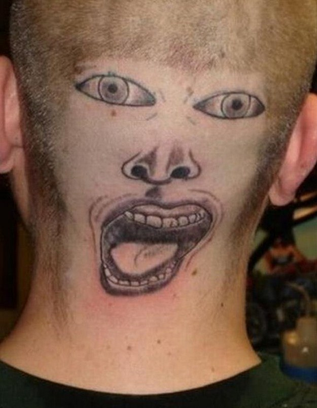 Funny People Tattoo On Back Head