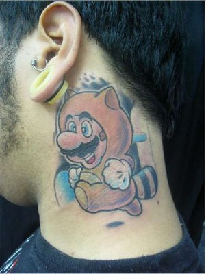 Funny Video Game Tattoo On Side Of Neck