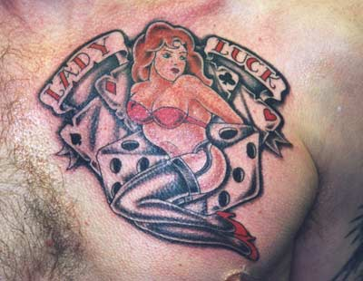 Gambling Pin Up Girl Tattoo On Chest