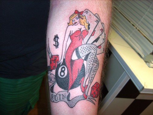 Gambling Pin Up Girl Wearing Red Dress Tattoo On Arm