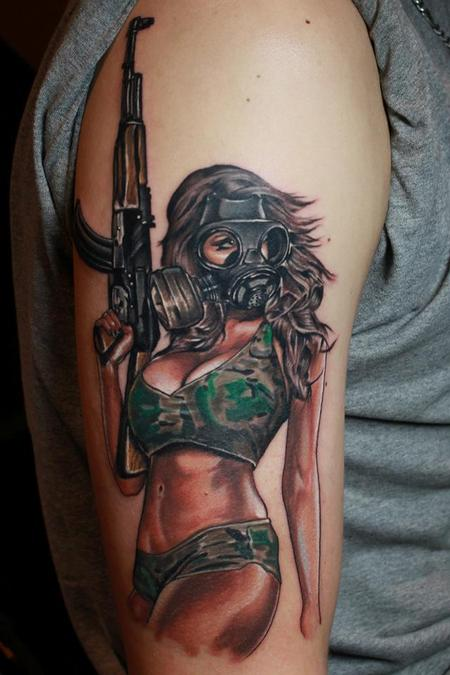 Gas Masked Pin Up Girl Tattoo On Arm
