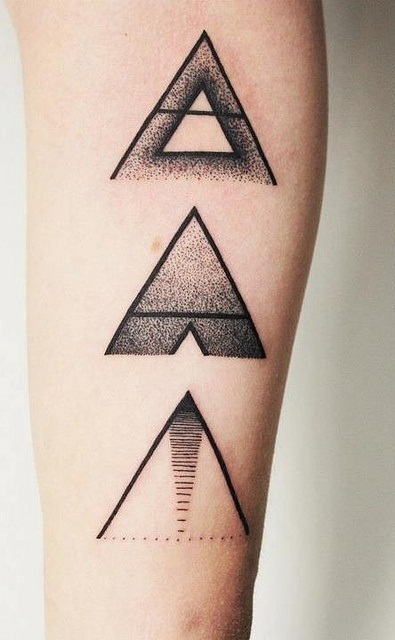 Geometric Triangles Tattoos On Arm