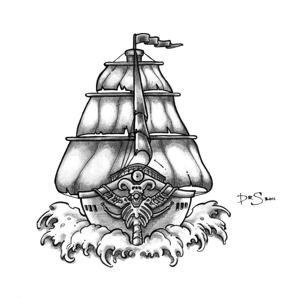 Ghost Pirate Ship Tattoo Design