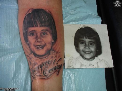 Girl Portrait Memorial Tattoo