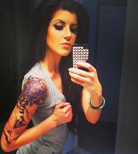 Girl With Flowers Tattoos On Right Arm