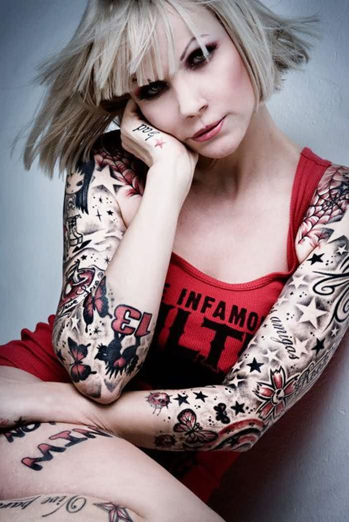 Girl With Fresh Sleeve Tattoos
