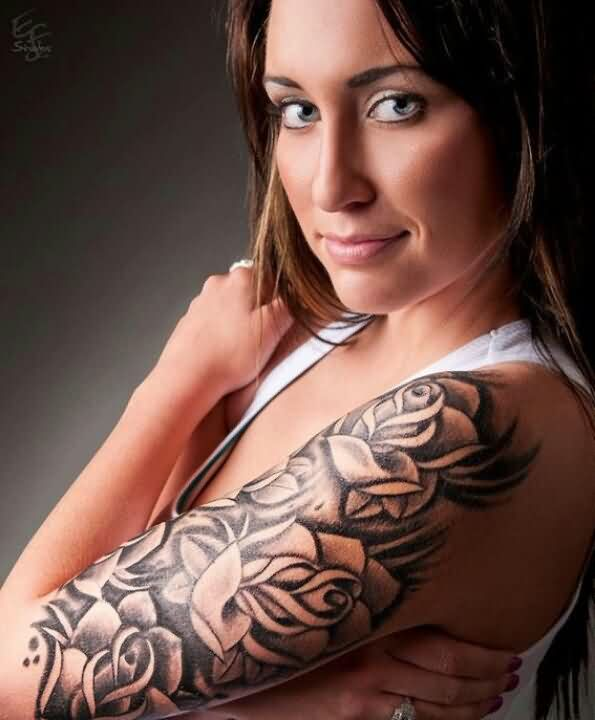 Girl With Grey Roses Tattoos On Left Arm