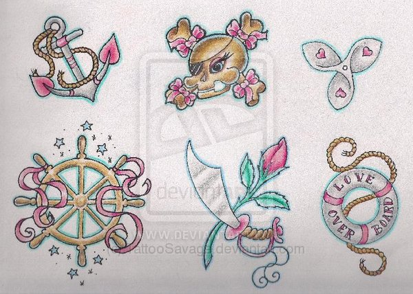 Girlie Nautical Tattoo Designs