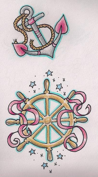 Girlie Nautical Tattoo Flash Sheet