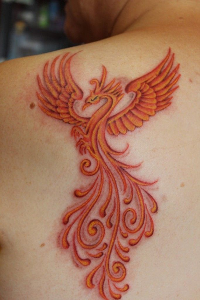 Girly Phoenix Tattoo Behind Shoulder