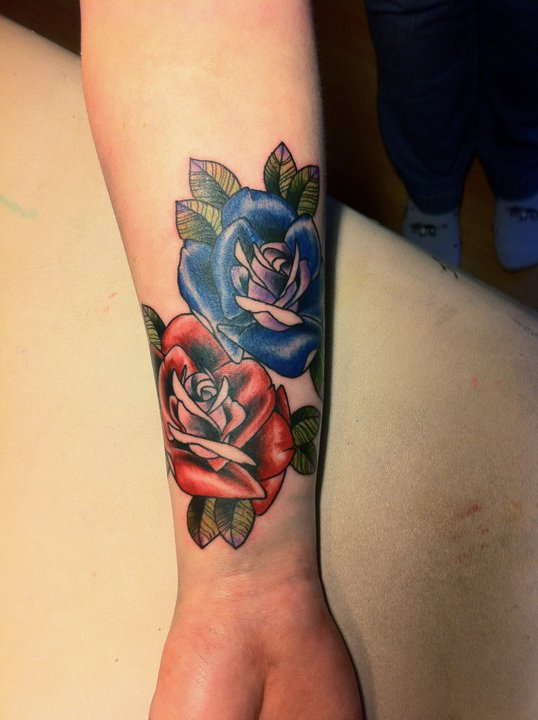 Glorious Blue And Red Rose Tattoos On Wrist
