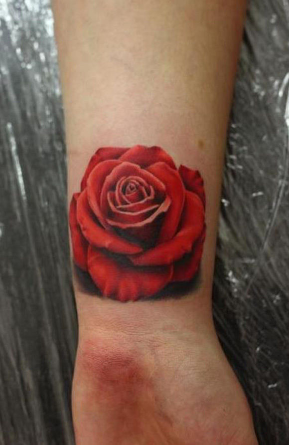 Glorious Red Rose Tattoo On Wrist