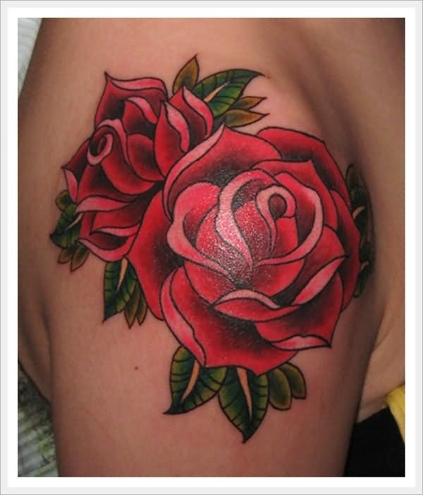 Glorious Red Rose Tattoos On Shoulder