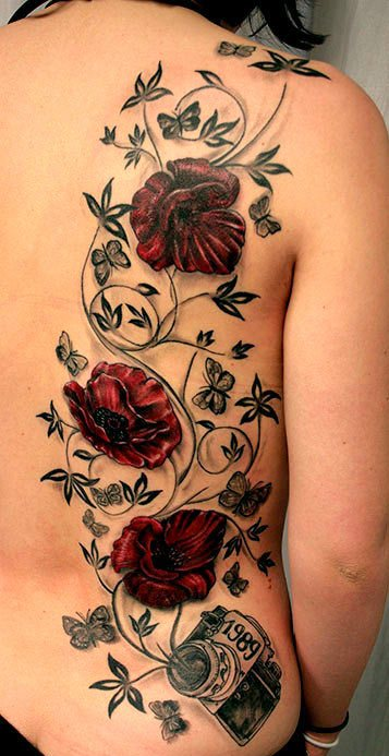 Glorious Rose Vine And 1989 Camera Tattoos On Side Back