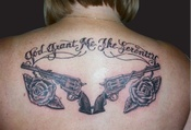 God Grand Serenity Pistol And Rose Tattoos On Back