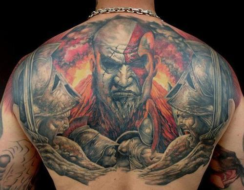 God Of War Tattoos On The Back