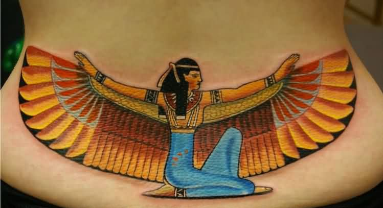 Goddess Isis With Wide Open Wings Tattoo On Lowerback