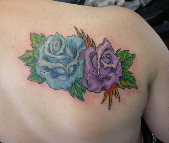 Gorgeous Blue And Purple Rose Tattoos Behind The Shoulder