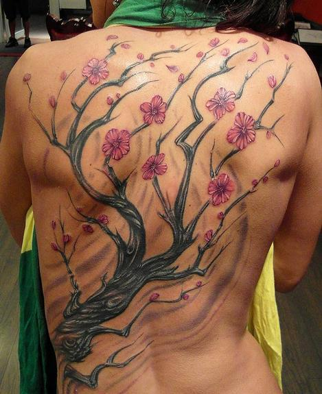 Gorgeous Cherry Blossom Tree Tattoo On The Back