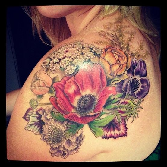 Gorgeous Color Flower Tattoos For Women