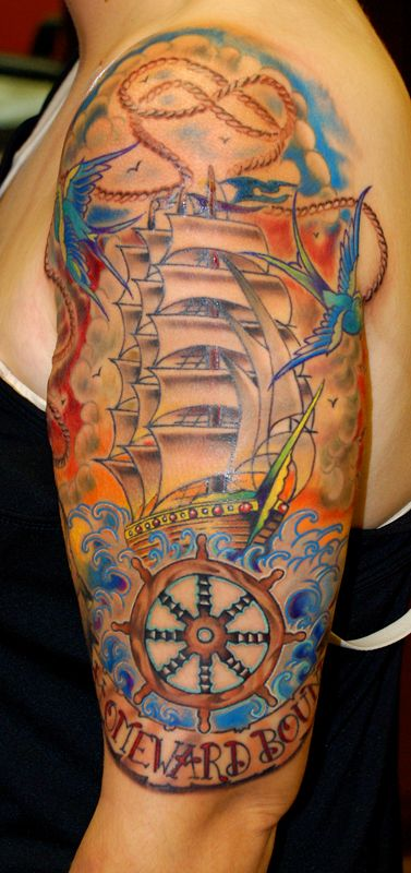 Gorgeous Color Nautical Tattoos On Sleeve