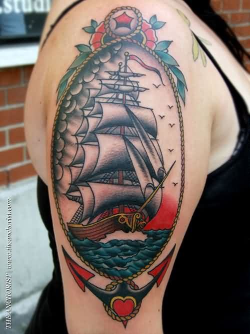 Gorgeous Colorful Nautical Tattoos On Upper Arm For Women