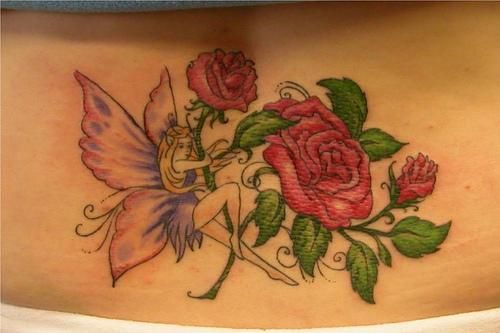 Gorgeous Fairy And Red Rose Tattoos On Lowerback