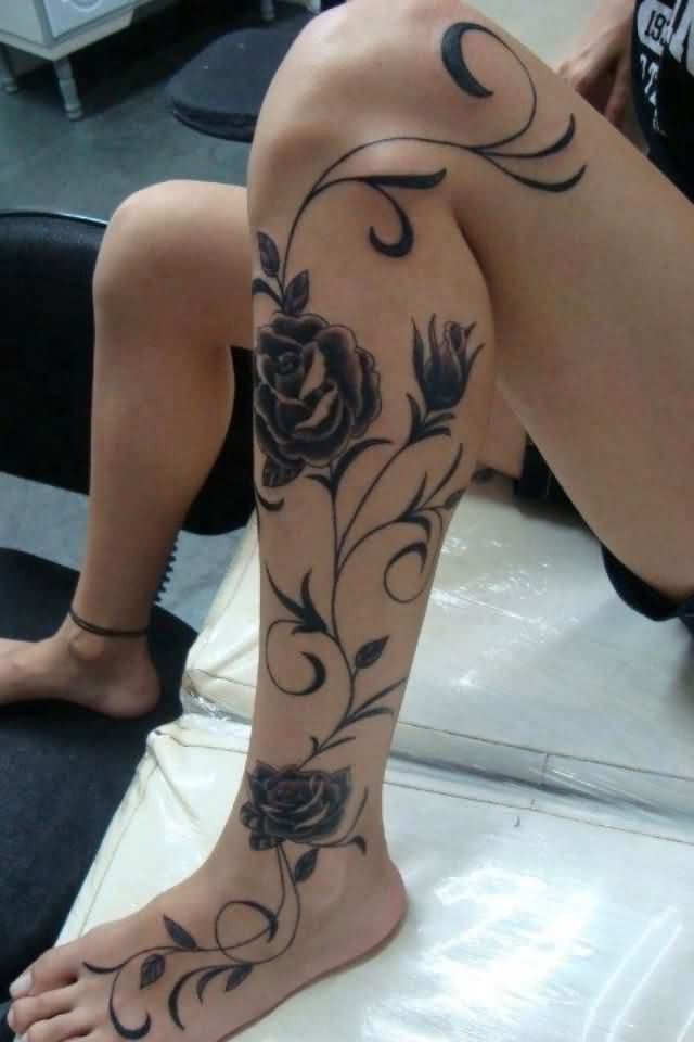 Gorgeous Grey Rose Vine Tattoo On Left Leg