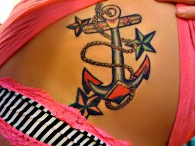 Gorgeous Nautical Tattoos On Waist For Young Girls