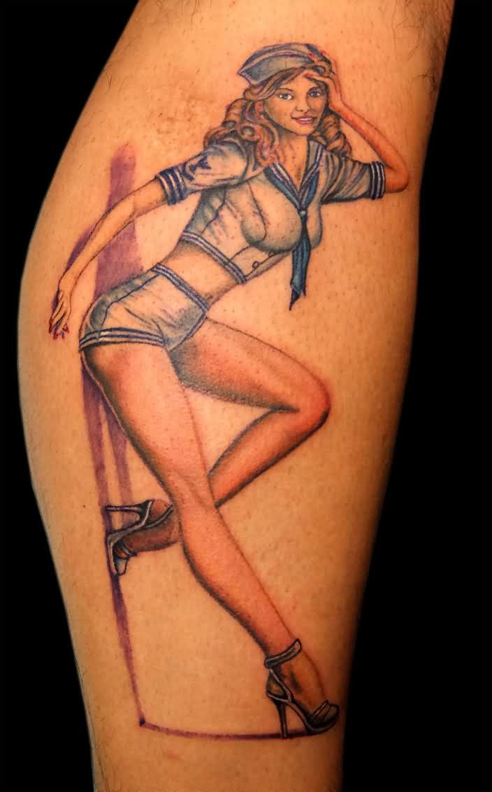 Gorgeous Navy Pinup Girl Tattoo