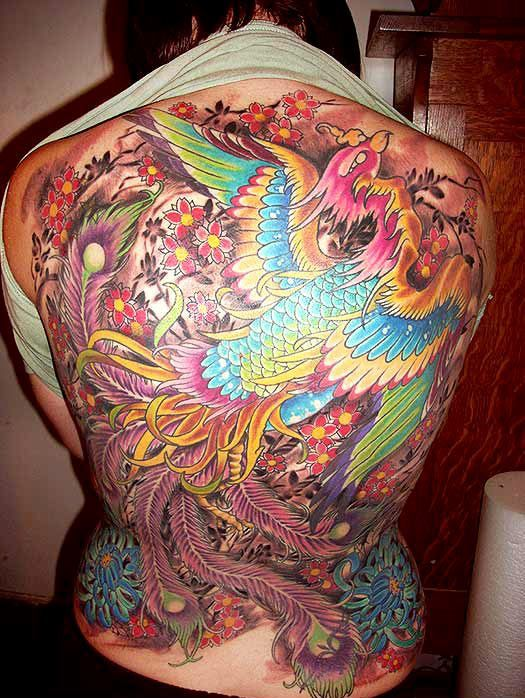 Gorgeous Phoenix And Blossoms Tattoos On Whole Back