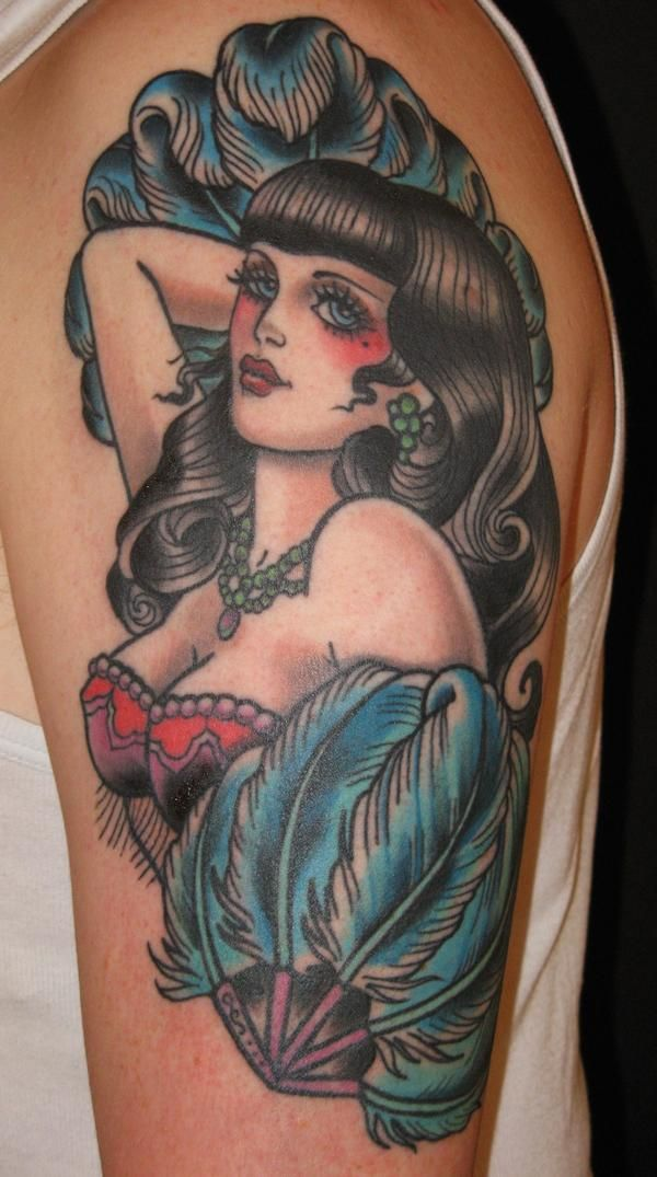 Gorgeous Pin Up Girl Tattoo On Arm