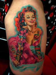 Gorgeous Pin Up Girl Tattoo On Thigh