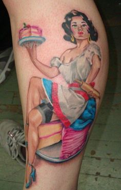 Gorgeous Pin Up Girl With Cake Tattoo