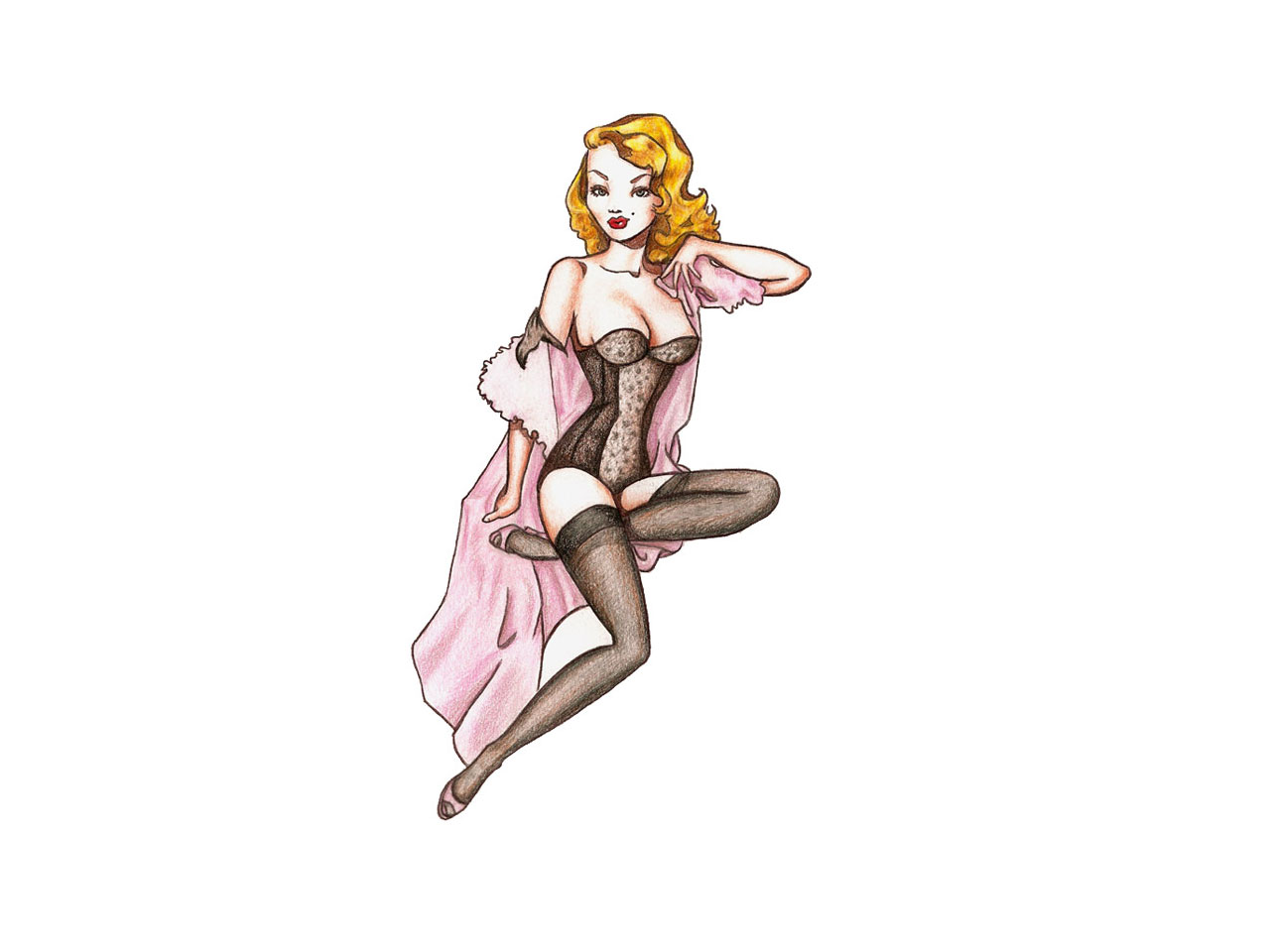 Gorgeous Pin Up Girl With Yellow Hairs Tattoo Design