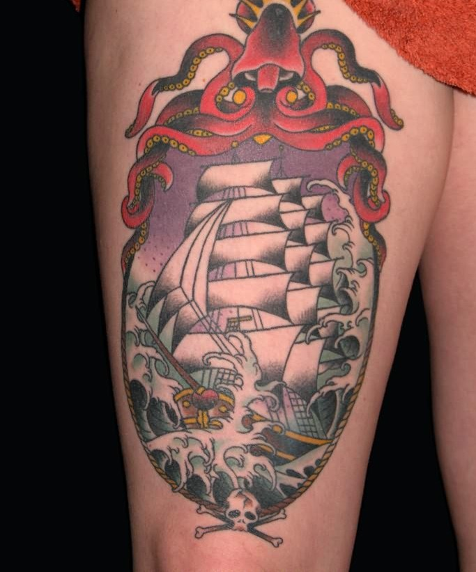 Gorgeous Pirate Ship Tattoo On Thigh