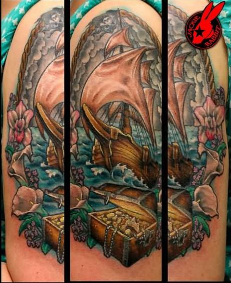 Gorgeous Pirate Tattoos On Arm