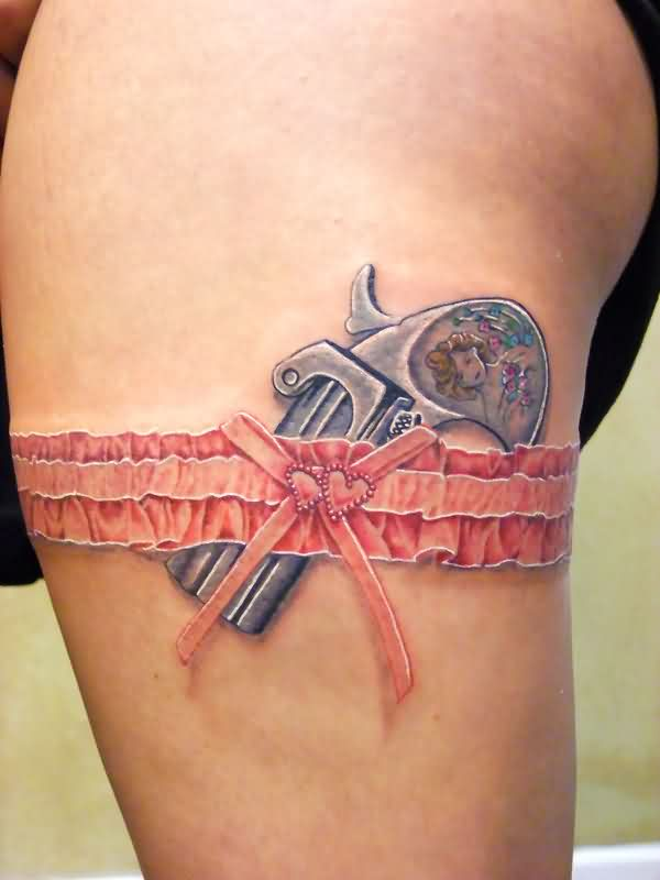 Gorgeous Pistol And Lace Garter Belt Tattoos On Thigh