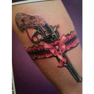 Gorgeous Pistol Lace Band Tattoo