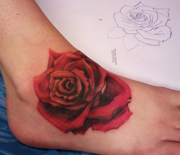 Gorgeous Red Rose Tattoo On Foot