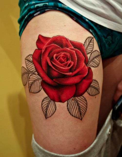 Gorgeous Red Rose Tattoo On Thigh