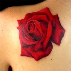 Gorgeous Red Rose Tattoo Specially For Girls